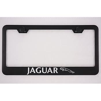BLACK Stainless Steel License Plate Frame w//Screw caps 1pc 3D JaguarLOGO