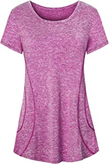 Womens Yoga Tops Flowy Fitness Workout Shirts Short Sleeve Activewear
