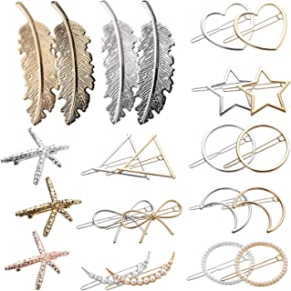 Yarlung 23 Pack Metal Hair Clips, Geometric Gold Hairpins Silver Hair Barrettes with Hollow Circle, Triangle, Bow, Moon, H...