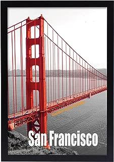 Frametory, Pre-Assembled Black Poster Frame - Golden Gate Bridge Gallery Edition