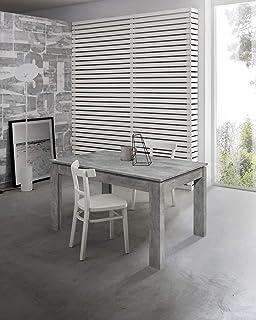 icreo Table extensible moderne, finition béton. Plan entier. 140 x 80 x 75 cm. Avec 1 rallonge de 50 cm. En mélaminé de ha...