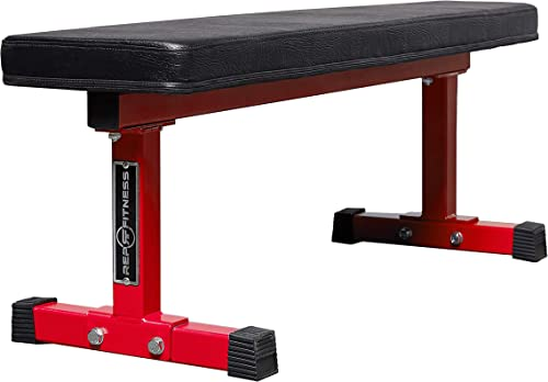 Supports 1000 lbs Titan Fitness Flat Weight Bench with Handle and Wheels