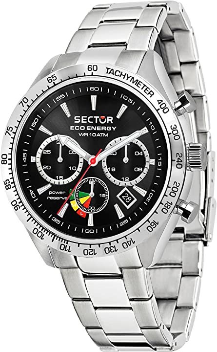 Cronografo solare sector no limits orologio uomo con cinturino in acciaio inox r3273613002