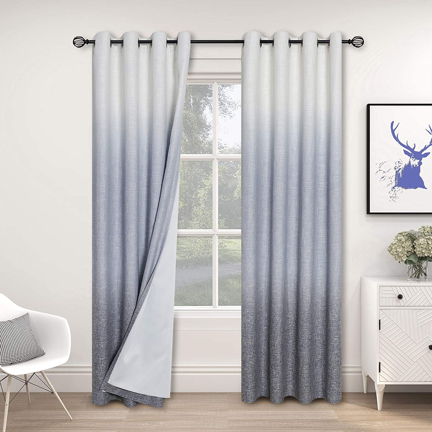Central Super beauty product restock Classic quality top Park Ombre 100% Blackout Room Curtains Darkening Window