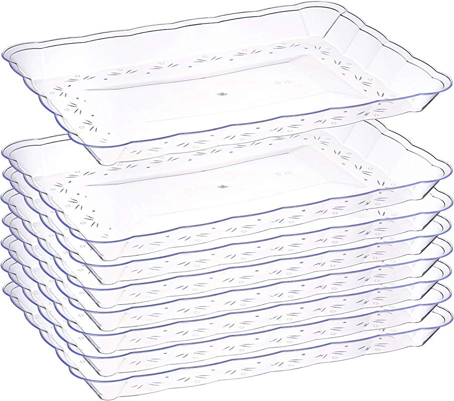 Plastic Serving Trays 6 Pack Disposable Rectangular Tray The Perfect Platters And Trays For Parties Dessert Tray 9 X 13 Clear