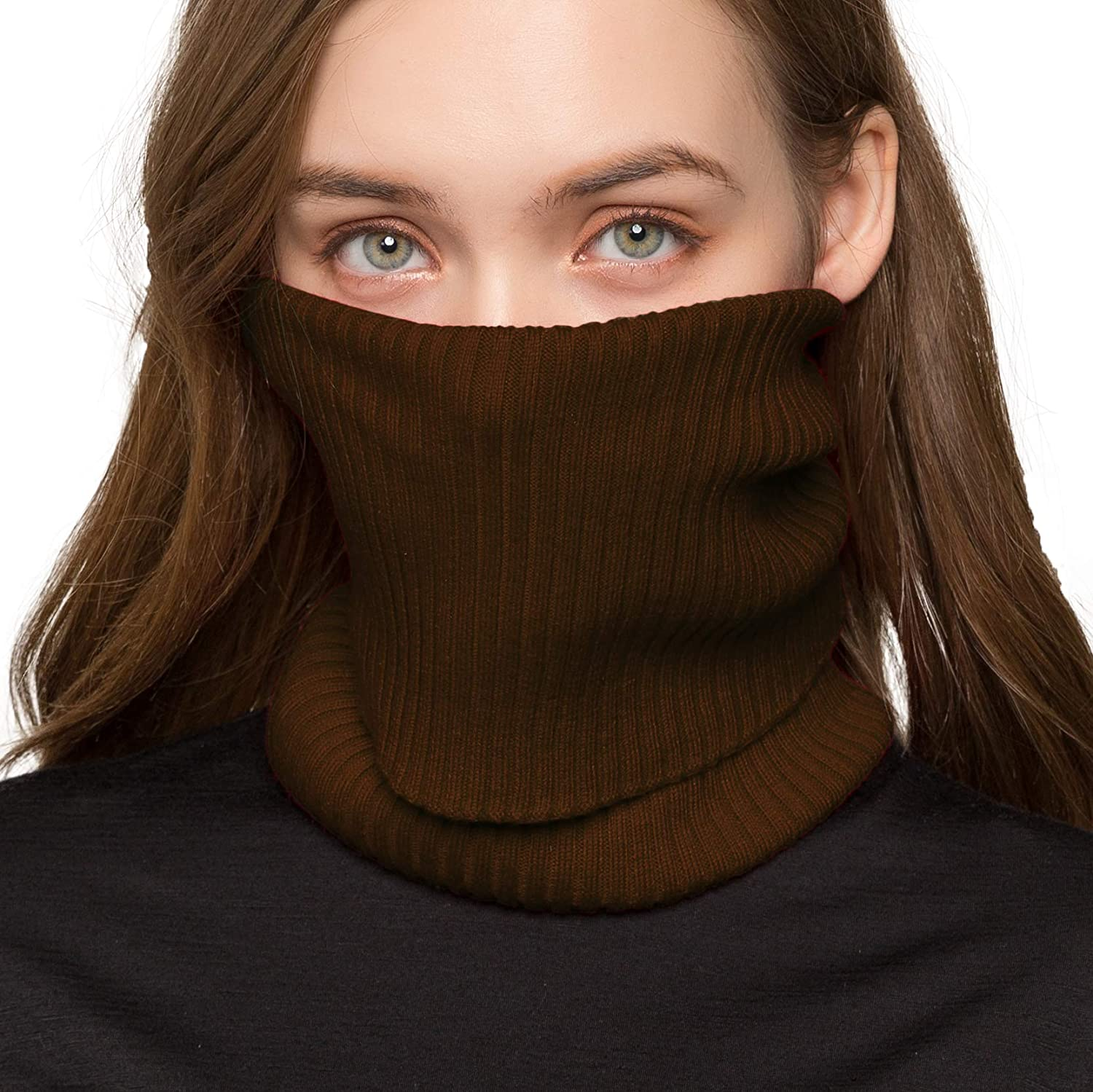 Zylioo Mulberry Silk Knit Ribbed Tube Scarf Multifunctional Face Covers Infinity Neck Warmer Windproof Neck Gaiter