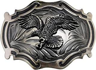 Lanxy Vintage Retro Native American Grey Big Eagle Belt Buckle For Men