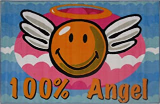 FindingKing Smiley Face 100% Angel Area Rug 19
