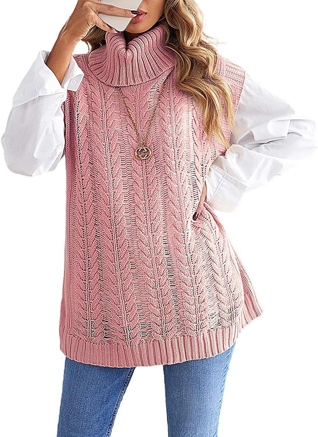 SHEWIN Womens Knit Sweater Vest Turtleneck Sleeveless Solid Color Pullover Sweaters Tops