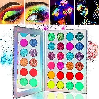 Kalolary Neon Luminous Eyeshadow Palette, 24-kleuren hooggepigmenteerd make-uppalet voor oogschaduw, UV Glow Blacklight Ma...
