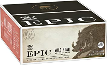 Epic All Natural Meat Bar 100% Wild, Boar With Uncured Bacon, 1.5 ounce bar, 12 count