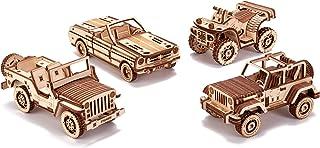 مجموعه اتومبیل های پلاستیکی ، 4-بسته - جیپ ، ATV ، کابریولت ، سافاری - وسایل نقلیه آموزشی - قطعات متحرک ، پازل چوبی سه بعدی ، سازنده مونتاژ ، تیزر مغز برای کودکان و بزرگسالان