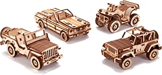 Wood Trick 4-Pack Mechanical Model Cars Kits to Build - Jeep, ATV, Cabriolet, Safari - Set of Cars Playset - Moving Parts - 3D Wooden Puzzle, Assembly Constructor, Brain Teaser for Kids and Adults