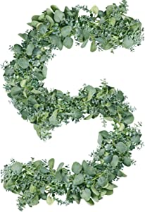 Eucalyptus Garland Greenery, Real Touch 5.9Ft Artificial Eucalyptus Leaves Silver Dollar Grey Green for Wedding Decor Mantle Fireplace Arch Backdrop Vines Christmas Wall Table Garland in/Outdoor