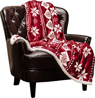 Chanasya Super Soft Fleece Sherpa Holiday Throw Blanket - Luxurious Snuggly Cozy Warm Hypoallergenic Vibrant Burgundy Red and White for Gift Fall Sofa Couch Bed Throw Blanket (50x65)