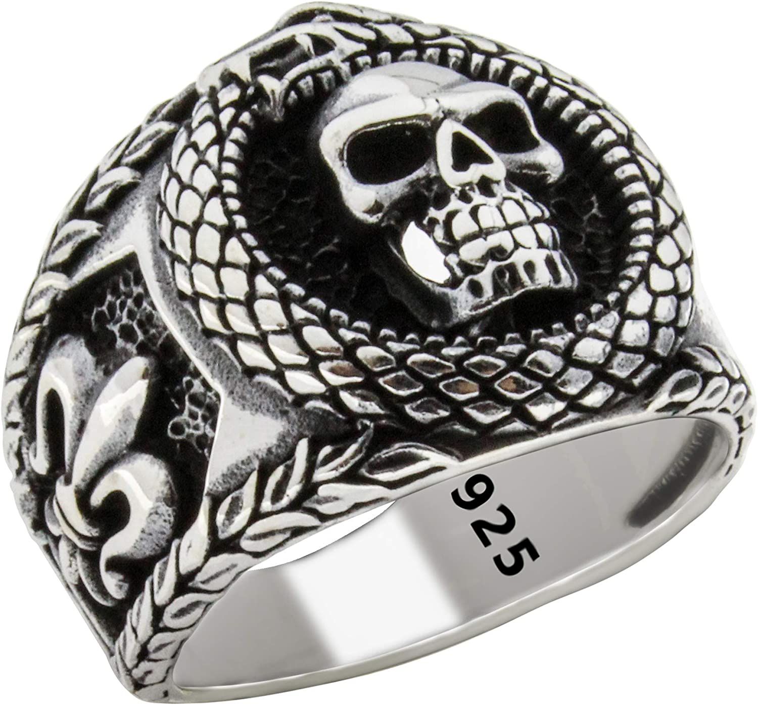 Solid 925 Sterling Silver Retro Turkis Skull Luxury Gothic Biker Special shop Campaign