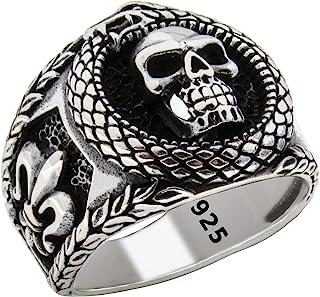 Solid 925 Sterling Silver Retro Gothic Biker Skull Luxury Turkish Men's Ring