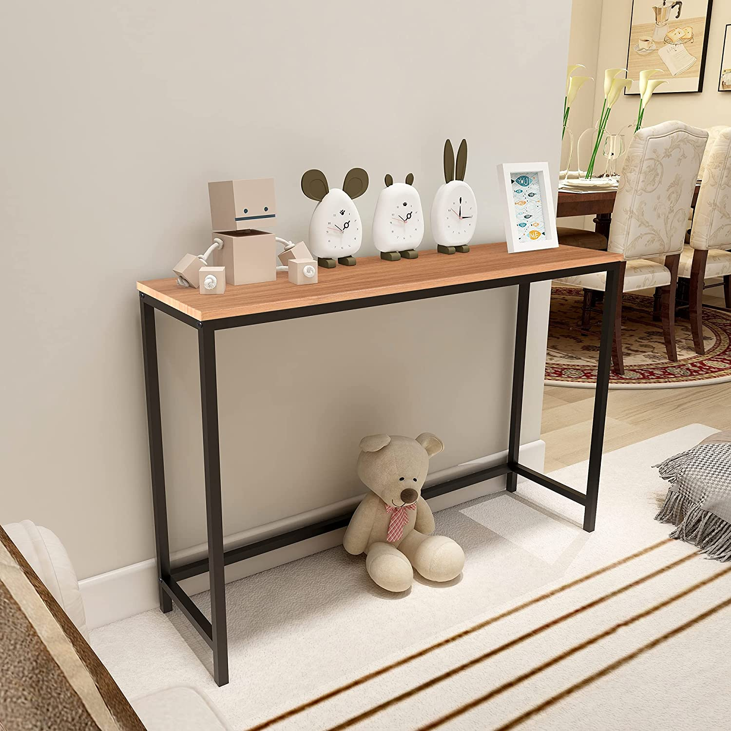 Console Sofa Tables End Table Computer Desk Coffee Snack Console Tables for Living Room Or Corridor Hallway Teak Color Wood