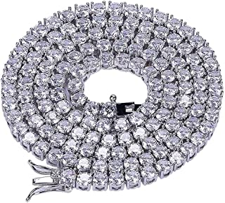 JINAO 1 Row 4MM Diamond Iced Out Chain Silver Plated Macro Pave CZ Hip Hop Tennis Necklace