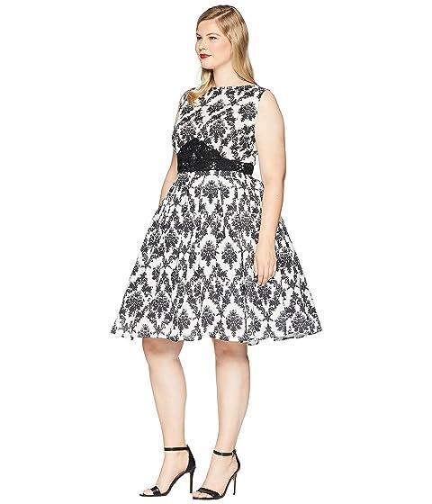 Vestido blanco mangas estilo negro único Bella vintage con de Swing sin Damasco 7qx7RrO
