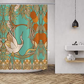 MUATOO Waterproof Fabric Shower Curtain,Bathroom Decor Vintage Flowers and Bird in Art Nouveau Style Shower Curtains 72 x 72 Inches, Green