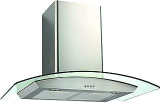 Ancona GC430 Glass Canopy 400 CFM Wall Mount Range Hood, 30-Inch
