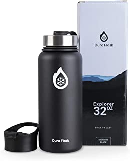 DuraFlask Explorer Double-Wall Vacuum Insulated Water Bottle (32oz) w/ 3 Thermal Optimizing Layers - Copper Dipped & 18/8 ...