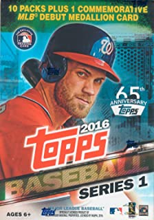 2016 Topps MLB Baseball Series #1 Unopened Blaster Box with One Exclusive MLB Debut Commemorative Medallion Card and 10 Packs of 10 Cards