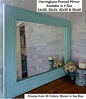 Herringbone Reclaimed Wood Framed Mirror, Available in 4 Sizes and 20 Paint Colors: Shown in Sea Blue - Large Framed Wall Mirror - Mirror Decorative Wall Art - Decor - 24x30, 36x30, 42x30, 60x30
