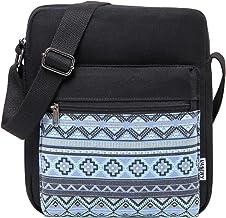 VASCHY Umhängetasche Mädchen, Vintage Klein Wasserabweisend Canvas Schultertasche Crossbody Bag Damen Teenager Tasche mit Verstellbaren SchulterriemenSchwarz