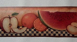 Country Fruit Apples Pears Wallpaper Border – Dark Blue Checks 30902350