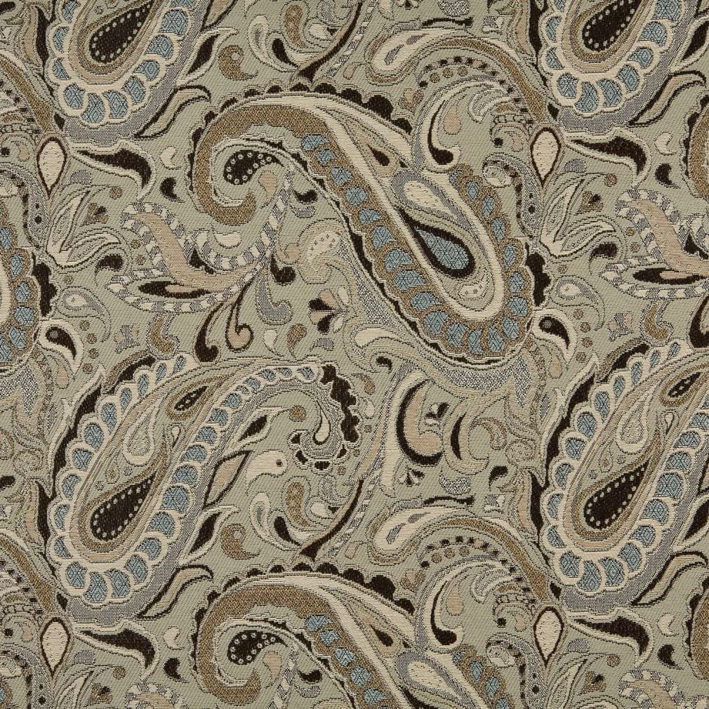 A0110A Brown Beige Light Blue and Tan Paisley Woven Solution Dyed Indoor Outdoor Upholstery Fabric by The Yard