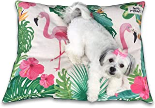 Indie Boho Pets Luxury Designer Dog Bed with Removable and Washable Cover in Flamingo Paradise Design - Perfect for Female Dogs