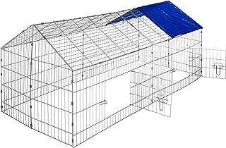 comprar comparacion TecTake Jaula recinto para Conejo Ejecutar con Parasol Exterior Animales 180 x 75 x 75 cm (Techo Azul   no. 402419)