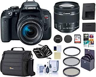 Canon EOS Rebel T7i DSLR with EF-S 18-55mm f/4-5.6is STM Lens, Black - Bundle Kit | Camera Case + 58mm Filter Kit + 16GB SD Card + Screen Protector + Cleaning Kit +Memory Wallet + PC Software Pack