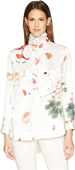 Printed Charmeuse Long Sleeve Blouse w/ Scarf
