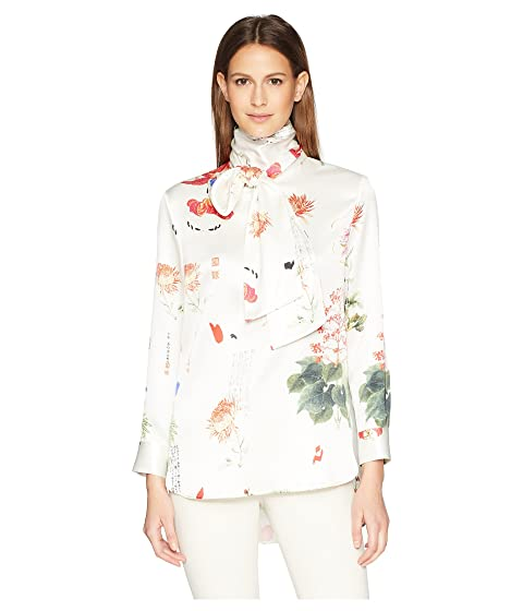 Adam Lippes Printed Charmeuse Long Sleeve Blouse w/ Scarf