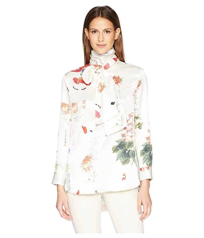 Adam Lippes Printed Charmeuse Long Sleeve Blouse w/ Scarf (Red Woodblock) Women's Blouse