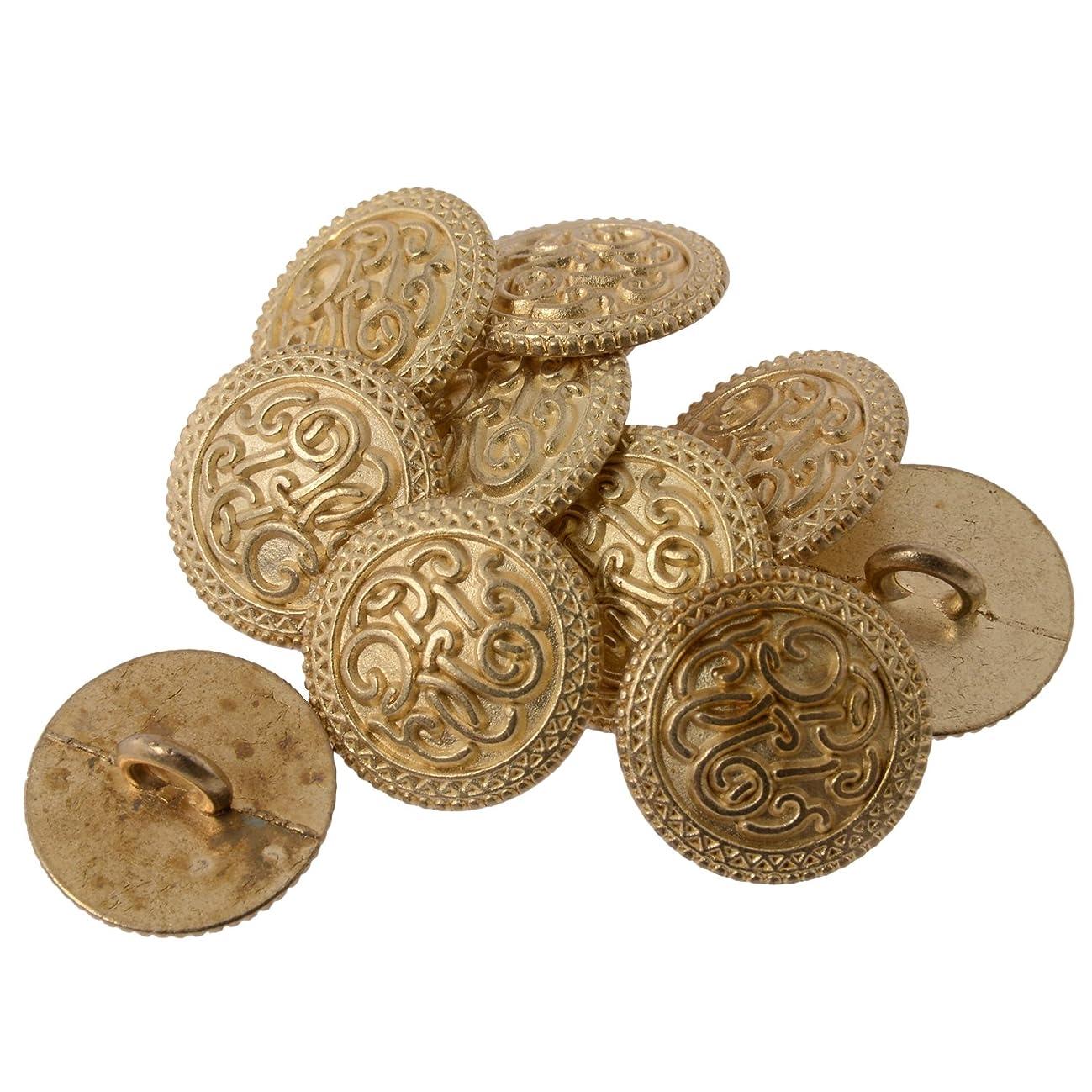 Zinc Diecast Metal Shank Button - Celtic Scroll Pattern - 24Line - Matte Gold