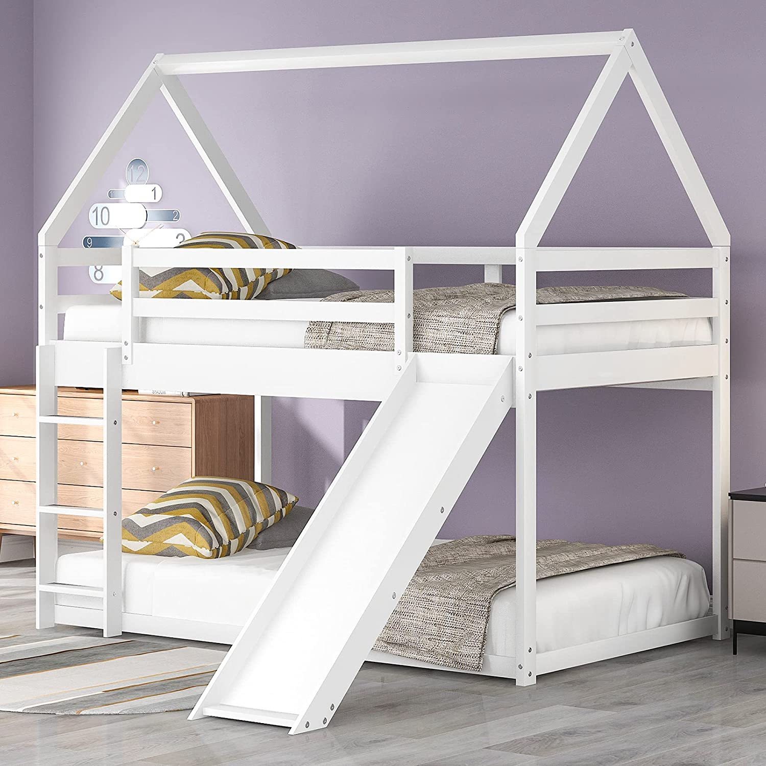 P PURLOVE Twin Over House Dealing full price reduction Wood Slide Limited time sale Bunk Bed with