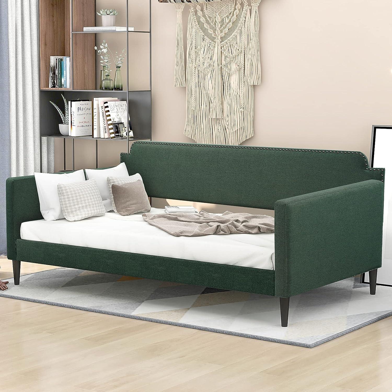 ブランド品 Merax Upholstered Daybed Twin Size with So 未使用 Wooden Trundle