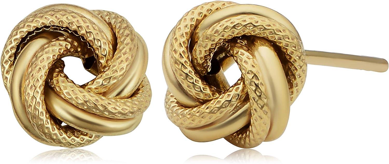 Max 66% OFF Denver Mall Kooljewelry 10k Yellow Gold Textured Stud Knot Love Earrings