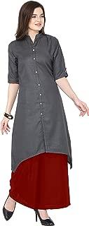 Florence Grey Slub Cotton Embellished Stitched Kurtis with Palazzo(FL-KT-130-PZ-04)