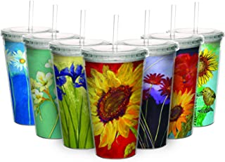 Sunflower Prima Donna Travel Tumbler with Straw - Double Wall Acrylic - 16 oz.