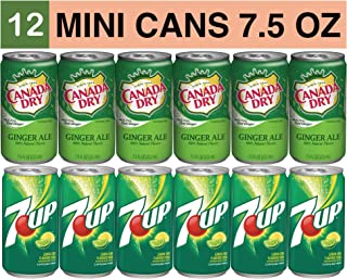Variety Soda Drinks - 12 Pack of 7.5 Fluid Ounce Mini Cans - (6) 7Up, (6) Canada Dry Ale