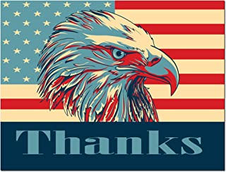 Thank You Cards - USA - American Flag - Bald Eagle - Patriotic - Blank on the Inside - Includes Cards and Envelopes - 5.5