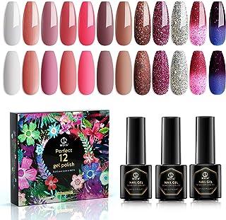 MEFA 12 Colors Gel Nail Polish Set, Soak Off UV LED Nail Gel Polish Pink Glitter Color Changing Colors Nail Beauty at Home