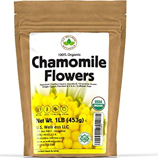 Chamomile Tea 1LB (16Oz) 100% CERTIFIED Organic (USDA seal) Chamomile Flowers Herbal Tea (Matricaria Chamomilla) in 1 lb B...