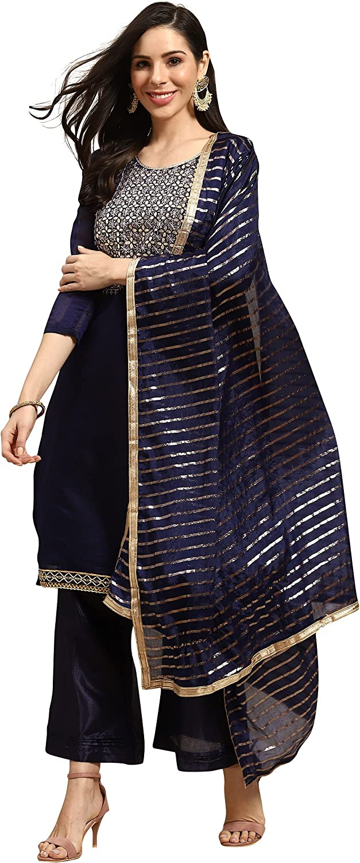 Rajnandini Indian/Pakistani salwar kameez for women, Navy Blue Chanderi Silk Embroidered Unstitched Salwar Suit Material(JOPLMD133A)
