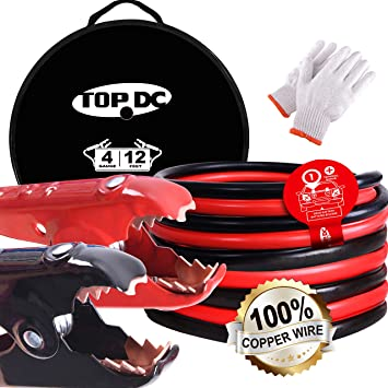 TOPDC 100% Copper Jumper Cables 4 Gauge 12 Feet -40℉ to 167℉ Heavy Duty Booster Cables with Carry Bag and Safety Gloves (4AWG x 12Ft) UL Listed: image